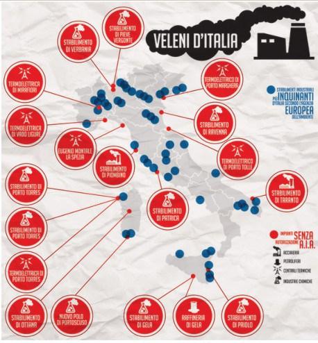 """MAPPA VELENI D'ITALIA - Secondo il dossier """"ECOSISTEMA RISCHIO INDUSTRIE"""" DI LEGAMBIENTE sono 1.152 GLI IMPIANTI INDUSTRIALI CHE TRATTANO SOSTANZE PERICOLOSE in quantità tali da rientrare nelle leggi nate dopo il disastro di Seveso. Ben 739 COMUNI (quasi uno su dieci) HANNO nei loro confini UNA BOMBA CHE POTREBBE ESPLODERE. Nessuna regione è risparmiata, ma alcune stanno peggio: LA LOMBARDIA HA IL RECORD DI 289 INSEDIAMENTI, SEGUITA DA VENETO (116) PIEMONTE (101) ED EMILIA ROMAGNA (100)"""