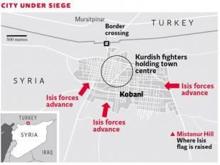 La mappa di KOBANI con l'avanzamento-assedio dell'ISIS