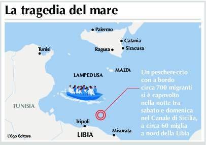 Localizzazione del barcone con a bordo più di 800 migranti affondato nella notte tra sabato e domenica 18-19 aprile (mappa ripresa  da www.nanopress.it)