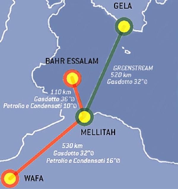 MELLITAH è il punto di partenza di GREENSTREAM, il gasdotto più lungo d'Europa (520 chilometri immersi nel Mediterraneo fino a una profondità di 1.200 metri); un investimento di 7miliardi di euro, la metà dei quali messi dall'Eni