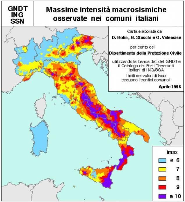 MAPPA ITALIANA DELL INTENSITA MACROSISMICA (da www.3bmeteo.com/